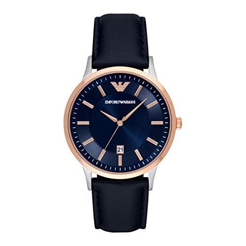 Emporio Armani Herren-Uhren Analog Quarz One Size Leder 87647048