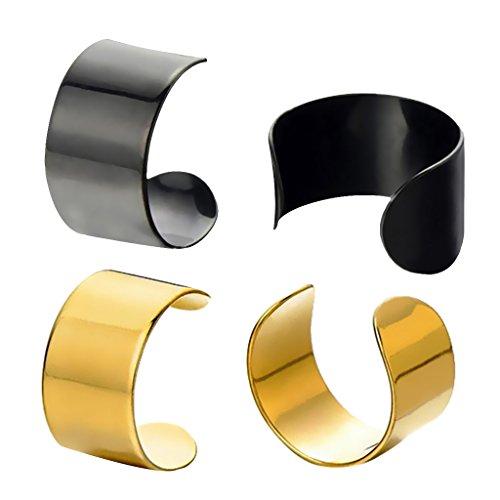 Colcolo 2Pair Mujer Clip Oído Acero Inoxidable No Piercing Cuff Wrap Earring - Oro, Negro