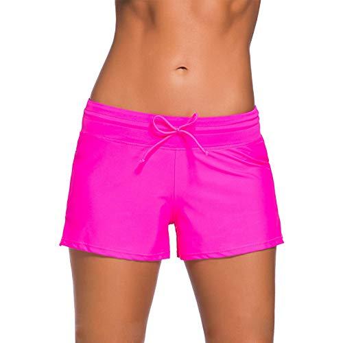 Kfnire Bañador Short Mujer, Deportivo Pantalones Cortos de Natación con cordón Ajustable Estilo con Panty Liner Plus Talla S - 3XL (S, Rosa roja)