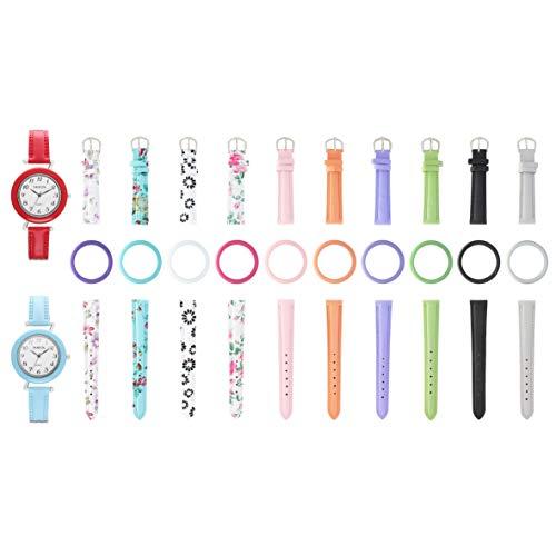 Reloj doble para mujer con bandas cambiables y bisel – 10 correas de piel sintética y 10 biseles en varios colores – Set de regalo intercambiable BTW-20902-2W-HOTPINK