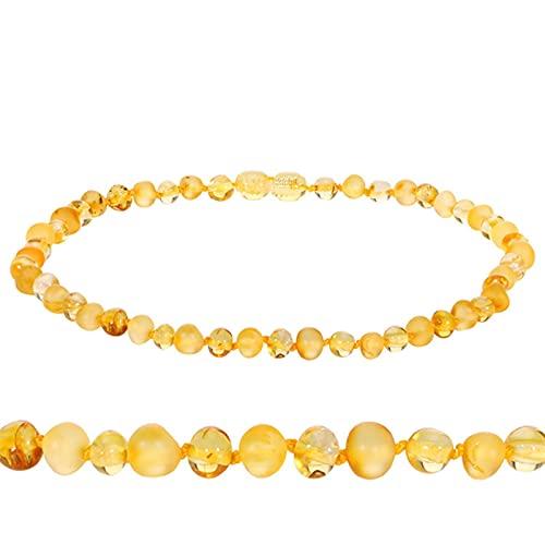 SPS Collar de dentición de ámbar báltico Original para Mujer Certificado de Suministro de Cristal Rosa + Pulsera de ámbar Dorado para Regalo de bebé