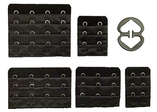 Bra Extender Bra Extension Bra Strap Extensions 2 Hook/3 Hook/4 Hook (5PCS) Black