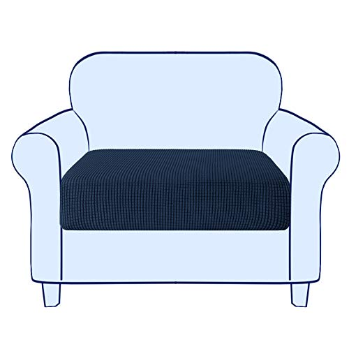 subrtex Couch Sofa Cushion Slipcover Seat Slip Covers Loveseat Stretch Durable Chair Sofa Protector Cushion Spandex Elastic Furniture Protector for Settee Sofa Seat in LivingRoom (Small,Navy)