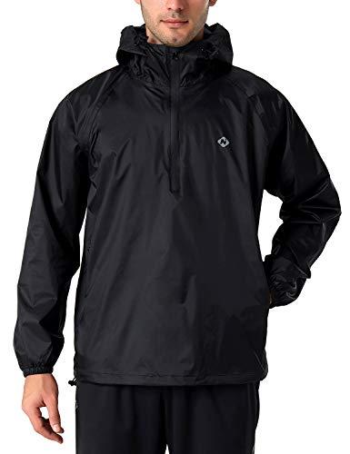 NAVISKIN Herren Regenjacke wasserdicht Fahrrad Jacke 1/2 ZIP Outdoor Regenkleidung Kapuze Schwarz Größe XXL