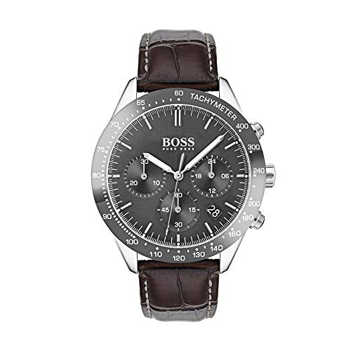 Hugo Boss 1513598 Talent Reloj para hombre con esfera gris y correa de cuero marrón