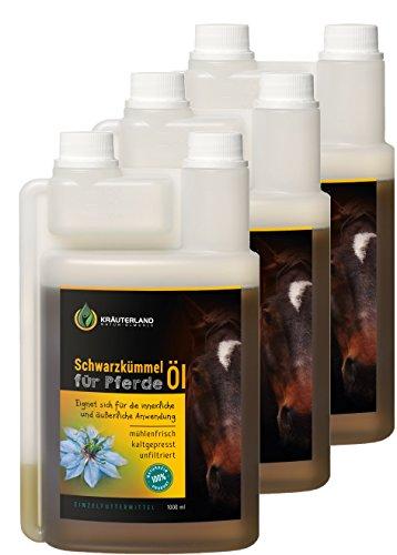 Kräuterland Schwarzkümmelöl für Pferde 3 Liter in Dosierflaschen - 100{1a611ac607e2a452940def607db90000ac03543c526fa56b560aed72fdde52d1} rein, kaltgepresst, ungefiltert - täglich mühlenfrisch vom Hersteller (3x1Liter)