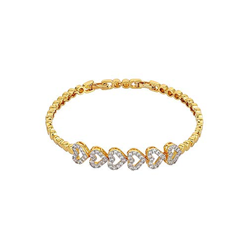 JCX Pulsera Love, Pulsera de Oro de 24K chapada en circonitas para Mujer