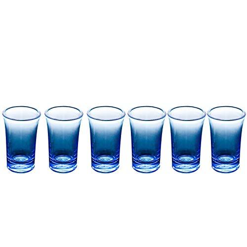 (6 vasos azules) - Vasos de vino acrílicos sin tallos y vasos de agua, hechos de plástico irrompible