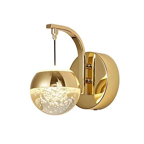 Luz de pared de aluminio de 5W LED moderna con pantalla de cristal, lámpara de pared creativa interior accesorio de iluminación para sala de estar, cabecera, estudio, dormitorio, escalera [Energy Clas