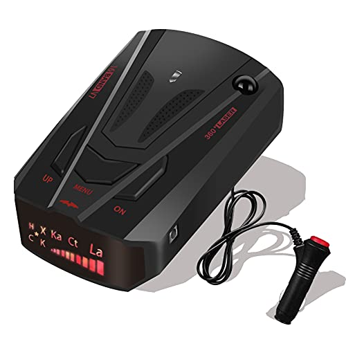 Radar-Detector-for-Cars,2021 New Version Laser Radar Detector Voice Prompt Speed,Vehicle Speed Alarm System,LED Display,City/Highway Mode,Auto 360 Degree Detection for Cars(Black)