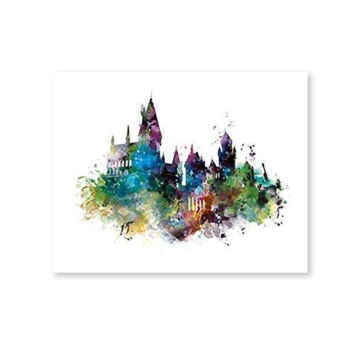 Romantic Night 99 Pintura de Number Kit Acuarela Castillo de Hogwarts Arte Lienzo Pintura Cuadro en la pared, Harry Potter Película Impresiones en lienzo Hogwarts Cartel Decoración de habitaciones ###