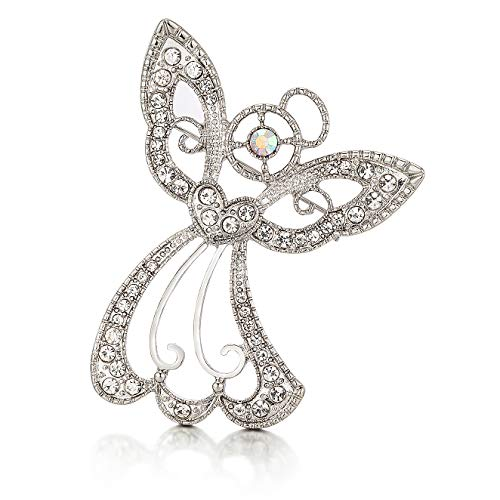 RareLove Big Size 2.44' Vintage Angel Hollow Wing Heart Christmas Pins and Brooches CZ Crystal Embed Brooch Pin Gift For Women Girls Alloy Silver Plated
