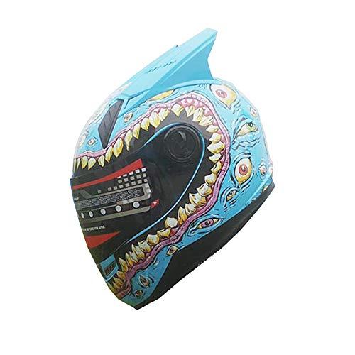 MALUSHUN Full Face Motorcycle Helmet Venom Racing off road Street Helmet With Horns blue (XXL)