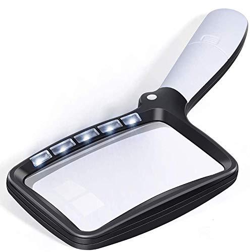 Queta 2× klappbare Leselupe mit 5 LED-Licht, Faltbare Vergrößerungsglas, für Senioren Lesen, Bücher, Zeitung, Schmuck, Briefmarken, Handwerk, Landkarten