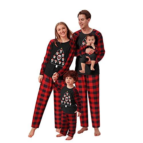 LEIYAN Christmas Matching Family Pajamas Sets for Adults and Kids Santa Tree Print Blouses Plaid Pants Sleepwear Set Red