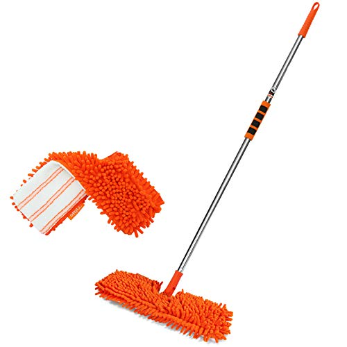 "MATCC Dust Mop 2 PCS Microfiber Chenille Flip Mop Refill 49"" Detachable Long Handle Microfiber Dry Floor Mop for Tile Laminate Hardwood Floor Cleaning Model MFM001"