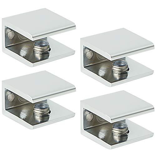 SAYAYO Glass Shelf Bracket Holder, 4 PCS Adjustable Shelf Clamp Metal Wall Mounted Shelf Supports for 6-12mm Glass Acrylic Wood, Polished Finish