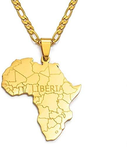 MGBDXG Co.,Ltd Collar Mapa de África con Collares Colgantes de Liberia Joyas de Color Dorado para Mujeres Hombres Tarjetas africanas Regalos de joyería Regalos