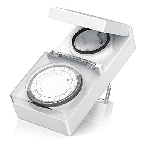 BEARWARE mechanische Zeitschaltuhr - Digital Timer - 96 Schaltsegmente - Schieberegler für Zeitangabe - Timer-Steckdose - 3680W - IP 44 spritzwassergeschützt