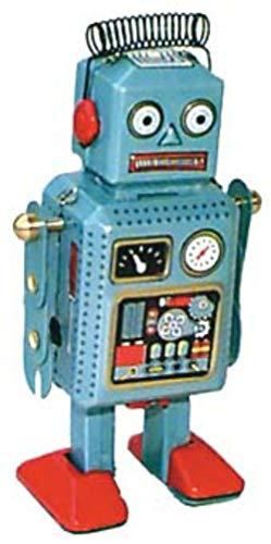 CAPRILO Juguete Decorativo de Hojalata Robot Azul Muelle Cabeza. Juguetes de Colección. Regalos Originales. Decoración Clásica.