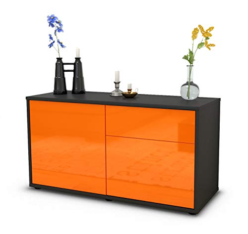 Stil.Zeit TV Schrank Lowboard Aja, Korpus in anthrazit matt/Front im Hochglanz Design Mandarine (92x49x35cm), mit Push to Open Technik und hochwertigen Leichtlaufschienen, Made in Germany