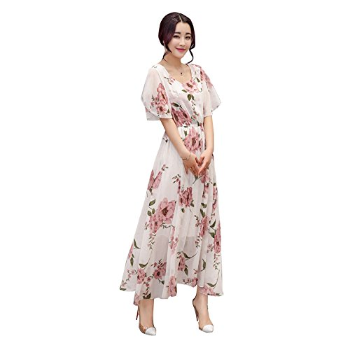 LA Princesse 2017夏 花柄 ロング ワンピースレディースドレス ワンピースSMLXL (L, ピンク)