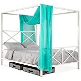 Best Choice Products 4-Post Queen Size Modern Metal Canopy Bed w/Mattress Support, Built-in Headboard, Footboard, Classic, Customizable Design - White