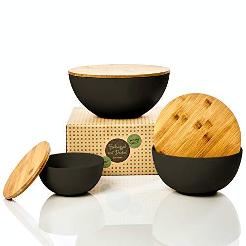bambuswald© ökologische Salatschüssel mit Deckel aus Bambus in 3-Größen zur Auswahl | Bambusschüssel in 0,9L 1,9L oder 4L - nachhaltige & robuste Kochschüssel für die Küche