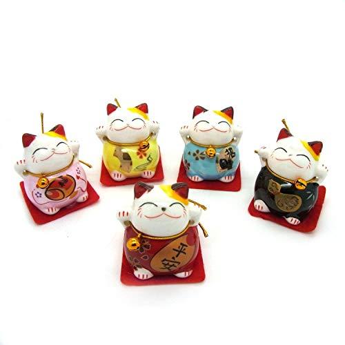 Juego de 5 gatos chinos de la suerte de cerámica para decoración, cerámica, 131048.