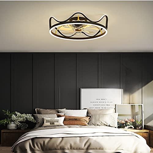 HAITOY Ventilador de Techo Luz con LED Iluminación, Luz de Techo Tipo Corona, Moderno Regulable para Silencioso Niños Dormitorio Iluminación Decorativo,Negro