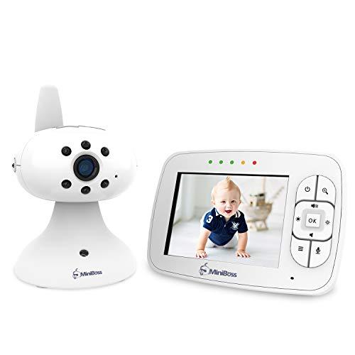 MiniBoss Baby Monitor Audio Video Babyphone con 3.5 LCD Wireless Fotocamera Digitale per Visione Notturna Monitoraggio della Temperatura