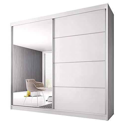 Schwebetürenschrank Claudia 35 mit Spiegel Kleiderschrank mit Kleiderstange und Einlegeboden Schlafzimmer- Wohnzimmerschrank Schiebetüren DREI Großen Modern (Weiß / Weiß Glanz + Spiegel, 183 cm)