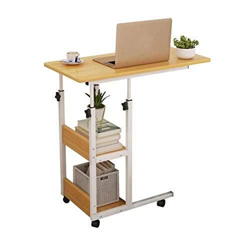 Bandeja de sofá cama con ruedas de altura ajustable, mesa para computadora portátil, escritorio para computadora, bandeja de comida movible con 4 ruedas desmontables para estudiar la lectura de café