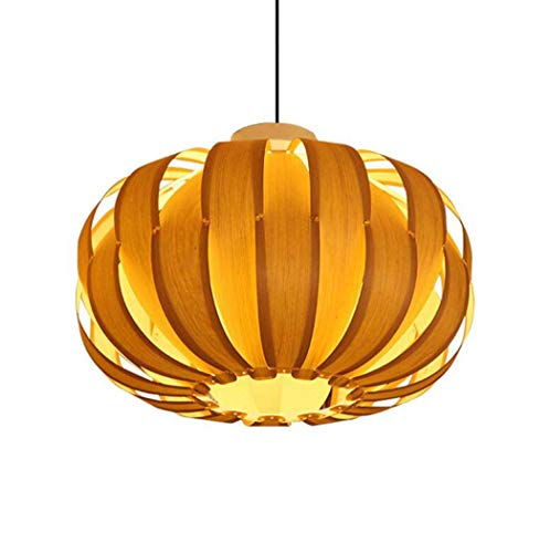 GJX lámpara Antigua Pendante, Lustre (Calabaza Tejida por Piel de Madera de...