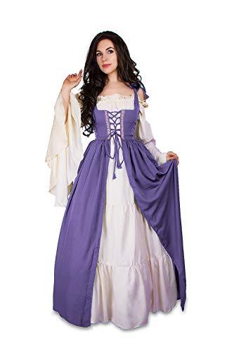 Mythic Renaissance Medieval Irish Costume Over Dress & Cream Chemise Set (L/XL, Lilac)