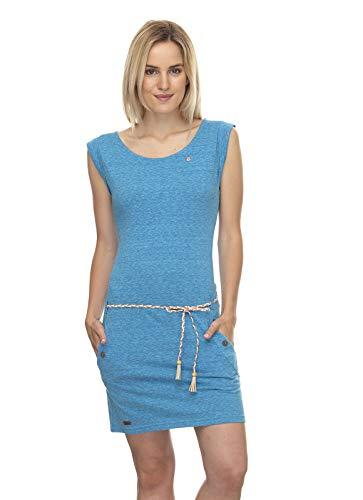 Ragwear Vestido de verano para mujer, sin mangas, vegano, cuello redondo, cinturón, bolsillo, azul, S