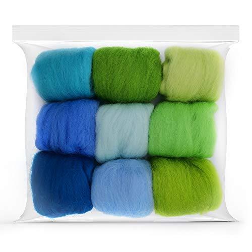 Seekee 9 Stücke Filzwolle Märchenwolle geeignet für Nassfilzen and Trockenfilzen Merino 70s Grade Superweich 9 Farbe - Jede Farbe 10g (o)