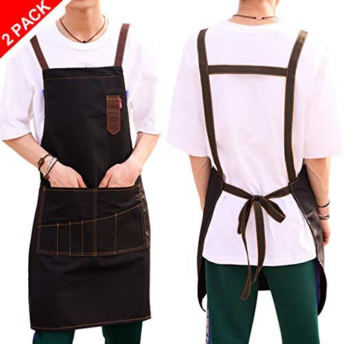 Schort met 2 zakken kookschort voor vrouwen mannen Chef -kookschort BBQ-schort met uw gewenste naam en motief naar keuze 2 x zwart
