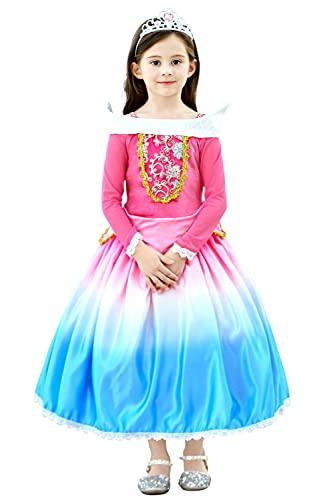 YOSICIL Disfraz Princesa Aurora Disfraz Bella Durmiente NiñaManga Larga Con Encajes Y Bordados De Flores Para Ceremonia Noche Cosplay Bodas Halloween, Niños 3-8 Años