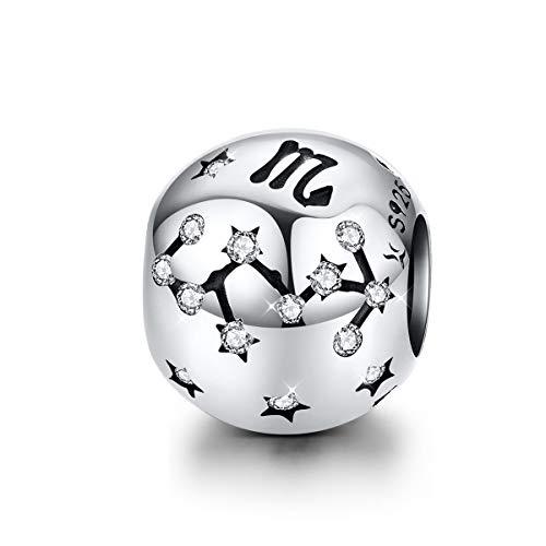 Abalorio de plata de ley con signo del zodiaco con 12 constelaciones de circonita cúbica compatible con pulsera y collar Pandora