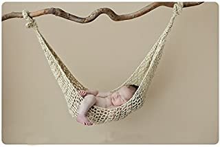 Baby Newborn Photography Props Hammock Handmade Crochet Knitted Unisex Boys Girls Outfits Photo Shoot Prop(Stick not Included) (Khaki)