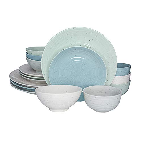Sango's Siterra Multi-Colored Artist's Blend Dinnerware Set with Neutral Tones, 16-Pieces with 4 Place Settings, Ceramic