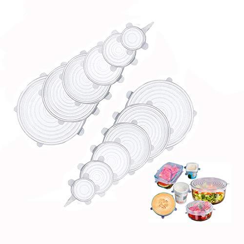 Anbaituor Dehnbare Silikondeckel 12 Stück Silikondeckel Stretch Deckel in Verschiedenen Größen - Wiederverwendbar Dauerhaft Erweiterbar Silikon Lid für Schüsseln,Becher,Obst,Dosen (12P-A)