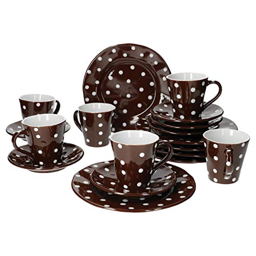 Mercant Glas 18-TLG. Kaffeeservice Braun-Weiß gepunktet   6 Pers.   Kaffeetassen + Untertassen + Kuchenteller   edles Steingut   Gastro-Geschirr