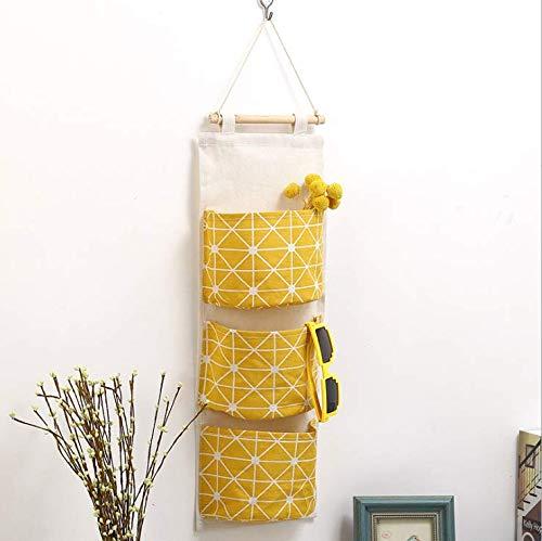 Borsa portaoggetti da appendere alla parete impermeabile sopra la porta dell'armadio organizer in tessuto di lino da appendere con 3 tasche di larghezza a distanza per camera da letto e bagno (giallo)