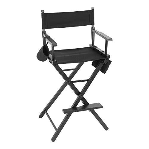 Faltbarer Regiestuhl, Komfortables Make-up-Stuhl, Hoch Regisseur Stuhl, Klappstuhl Holz Direktor Chair, Schminkstuhl, mit Wasserflaschenhalter, Aufbewahrungsbeutel und Netztasche
