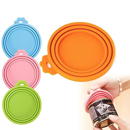Aloces Juego de 4 tapas universales de silicona para latas de comida de mascotas, aptas para lavavajillas, para perros y gatos, sin BPA, aprobado por la FDA