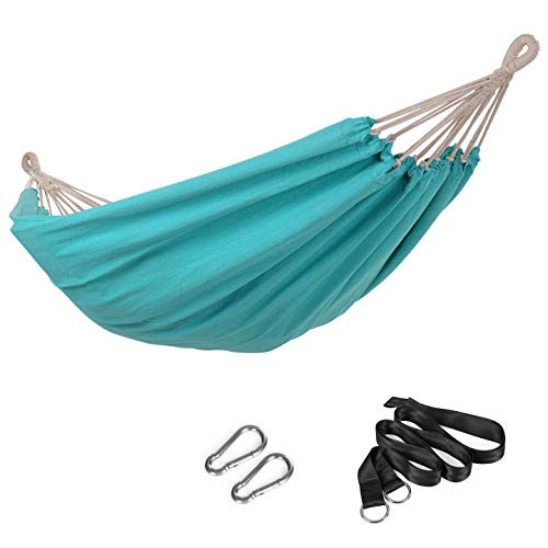 SONGMICS Hammock, 210 x 150 cm, Double Hammock, 300 kg Load Capacity, for Terrace, Balcony, Garden, Outdoor, Camping, with Carry Bag, Fastening Straps and Carabiners, Turquoise GDC15BU