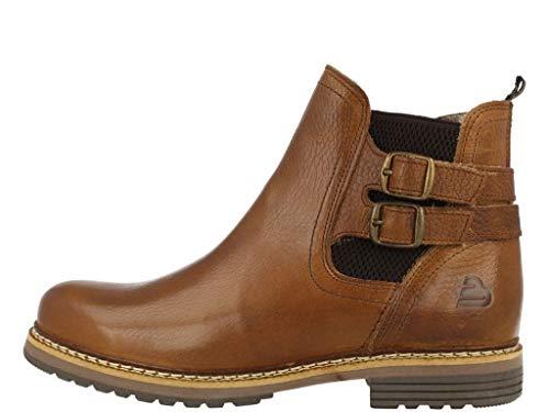 BULLBOXER Damen Stiefeletten, Frauen Chelsea Boots,Stiefel,Halbstiefel,Bootie,Schlupfstiefel,flach, Schlupfstiefel flach,Cognac,37 EU / 4 UK