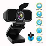 Wecam with Microphone, PC Laptop Desktop Computer Video Web Camera, Wide Angle HD Webcam 1080P for Skype YouTube Twitch OBS Streaming Video Conference, Webcam with Privacy Cover,Tripod